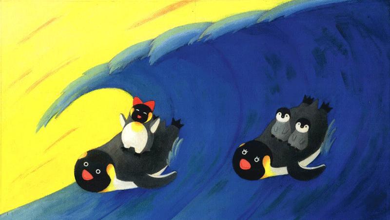 波乗りペンギンイラスト
