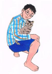 彼氏に抱っこされてるメス猫