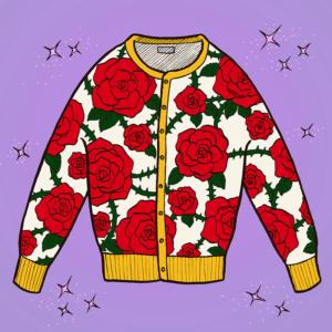 薔薇柄セーター